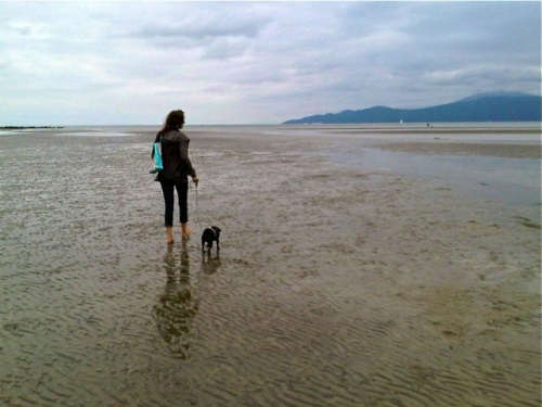 Pug mama walking her black pug on a beach at low tide